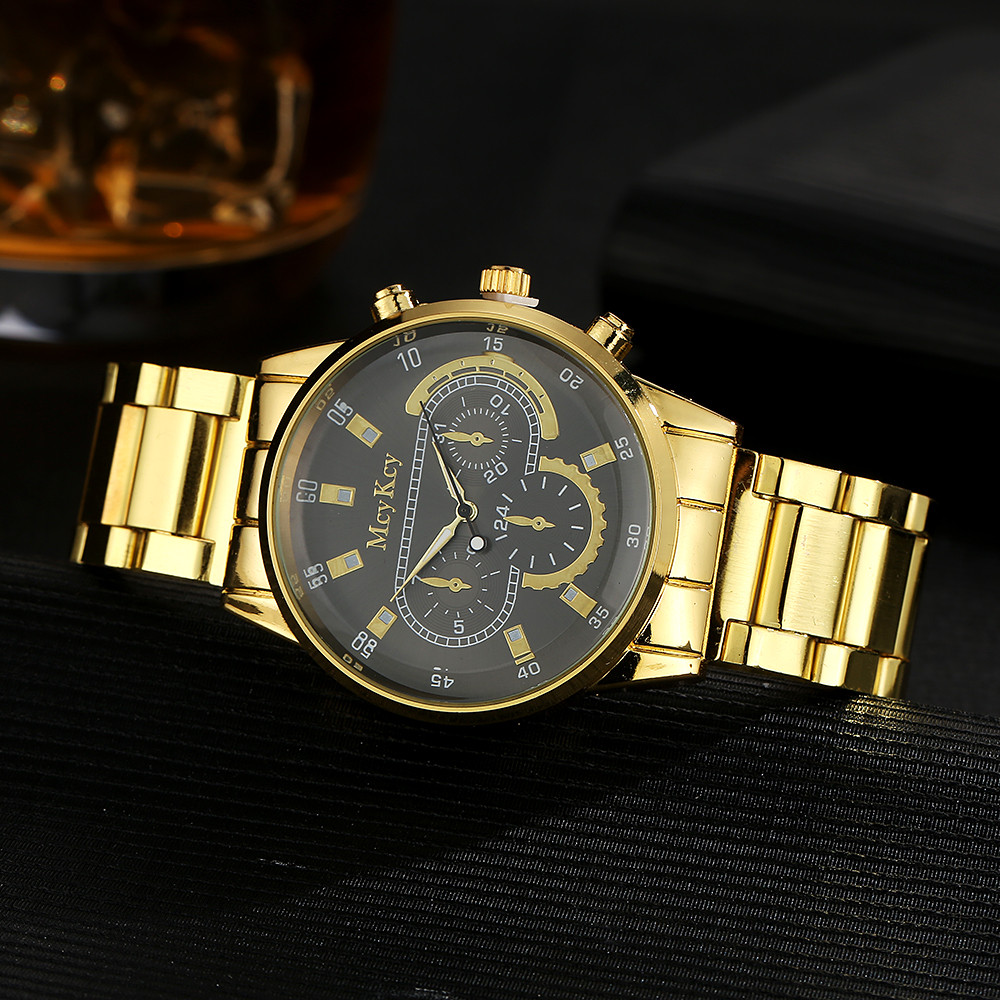 Men Watch Women Casua High Quality McyKcy Mens Black Dial Gold Stainless Steel Date Quartz Analog Sport Wrist Watch HOT SALE 3* zgo high quality resin sport watch men 50m water resistant 1 year warranty white black golden sport wrist watch