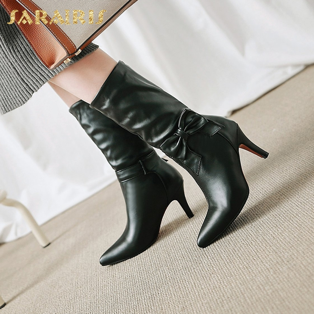 SARAIRIS Plus Size 34-43 Fashion Bowtie Black White Shoes Woman Boots Autumn High Heels Winter Boot Mid Calf Boots Woman Shoes spring autumn women thick high heel mid calf boots platform woman short boots high heels shoes botas plus size 34 40 41 42 43