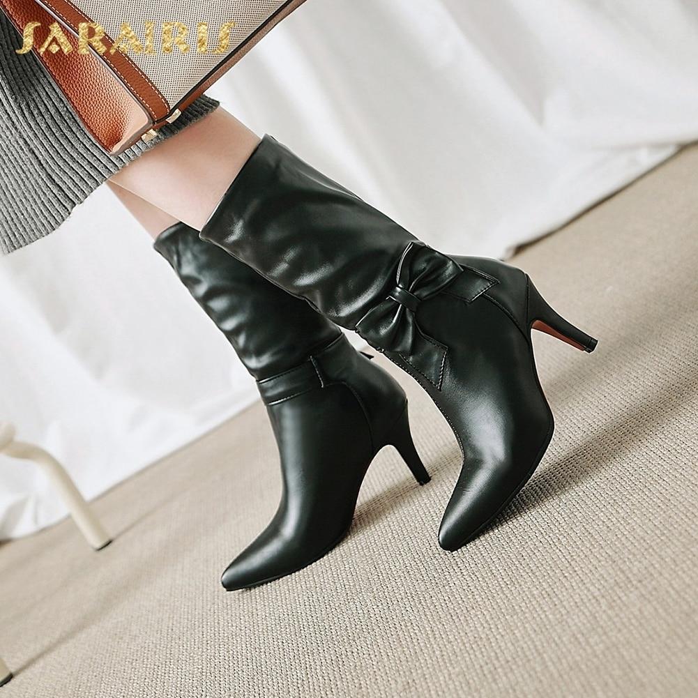 SARAIRIS Plus Size 34-43 Fashion Bowtie Black White Shoes Woman Boots Autumn High Heels Winter Boot Mid Calf Boots Woman Shoes стоимость