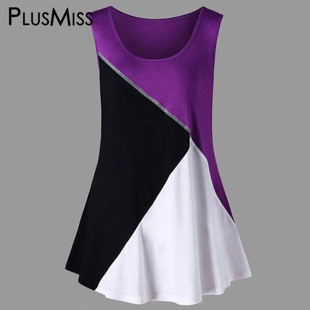 b6dc7f3069f PlusMiss Plus Size 5XL Summer 2018 Color Block Patchwork Tunic Long Tank  Top Women Clothing Big Size Sexy Sleeveless Vest Ladies