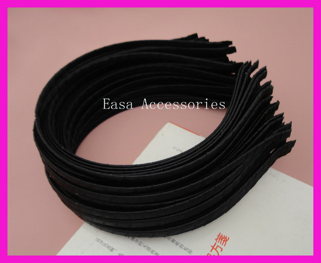 10PCS 5mm black satin ribbon wrapped plain metal hair headbands d98d52619b7