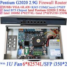 Офис маршрутизатор barebone1U Брандмауэр-маршрутизатор с 6*1000 М 82574L Гигабитные сетевые контроллеры 2 * i350 SFP порты Intel Pentium G2020 2.9 ГГц