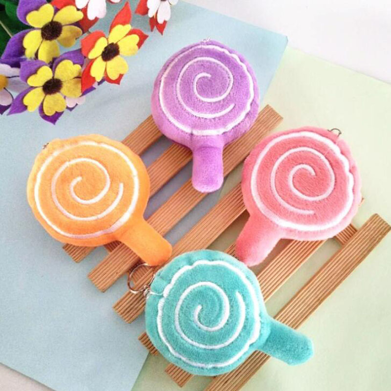 Cartoon Cute Simulation Colored Lollipop Plush Toy Key Pendant Bag Childrens Stuffed Event Holiday Gift