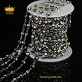 5Meter/Lot DIY Silver Plated Chain Jewelry Black Evil Eye Lampwork Beads Chain Glass Black Rosary Chain DS004