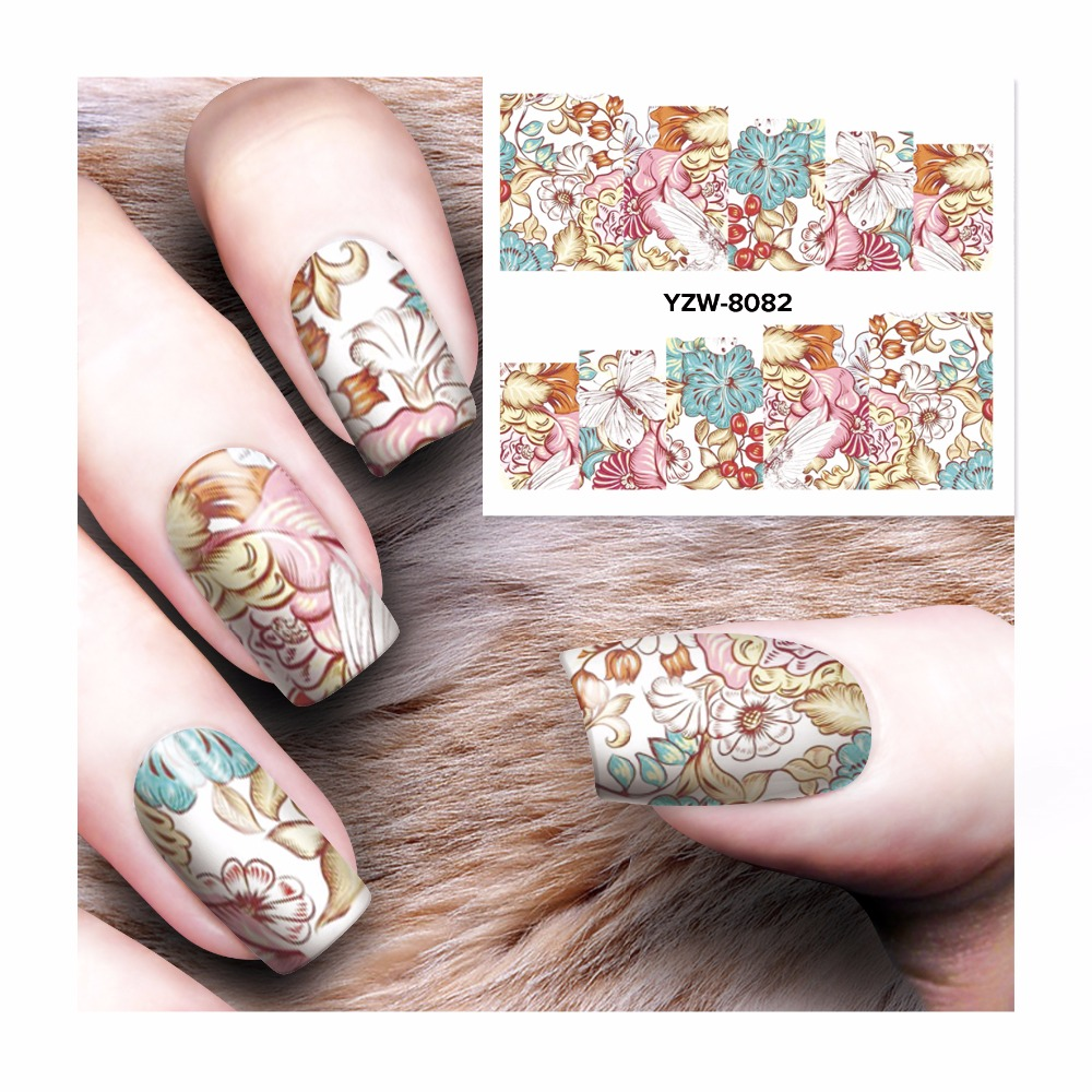 Zko 1 Sheet Water Transfer Nail Art Stickers Decals For Nail Tips