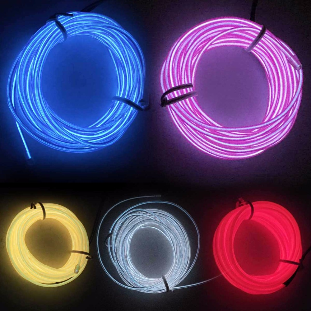 NEW 10 Color 1/2/3/5M Colorful Flexible EL Wire LED Tube Rope Neon Light  Glow Controller Car Dance Party Decor For 2xAA Battery