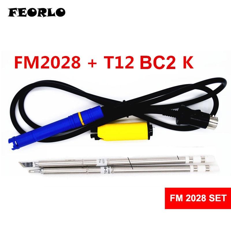 FEORLO FM2028 T12 Löten Griff mit 2 STÜCKE T12 K BC2 Für HAKKO FX951 Elektronische Lötkolben Tipps