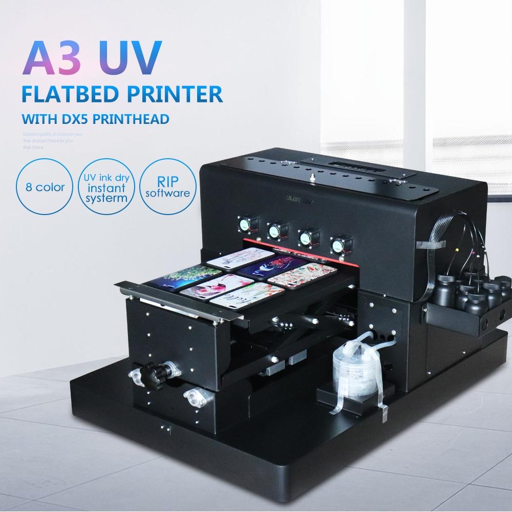 Nouveau A3 manuel imprimante UV LED 8 couleurs avec Epson R2000 à plat UV Machine pour coque de téléphone imprimée/T-shirts/bois/verre/acrylique