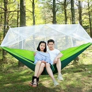 Image 4 - Ultralight Parachute Hammock Hunting Mosquito Net Double Person camping leisure hamak drop shipping Outdoor Furniture Hammock