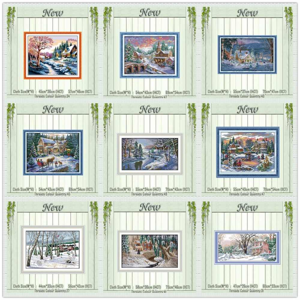Lakeside snowhouse fairy tale Winter counted printed on the canvas DMC 11CT 14CT kits DIY Cross Stitch embroidery needlework Set