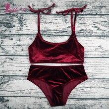 Lurehooker сексуальный Бархатный комплект бикини однотонный с низкой талией купальник Спортивный бикини для женщин из двух частей Холтер купальники пляжный купальный костюм