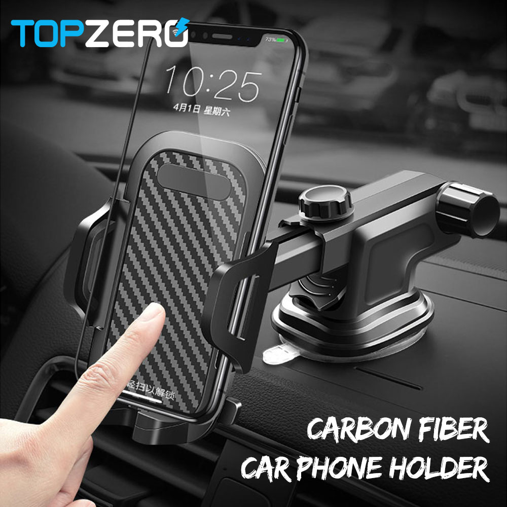 Luxury Moblie Phone Car Holder For IPhone XR XS Max 7 Car Air Vent Windshield Car Mount Phone Stand 360 Carbon Fiber Car Holder