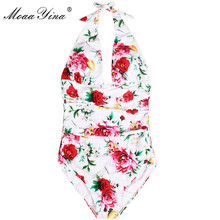 hot deal buy moaayina fashion designer hanging neck bodysuits summer women romantic sicily holiday bohemia beach print sexy elegant bodysuits