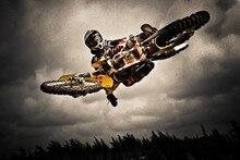 DIY marco de Motocross dirt jump deportes foto puerta Decoración carteles de arte Póster en Tela de seda