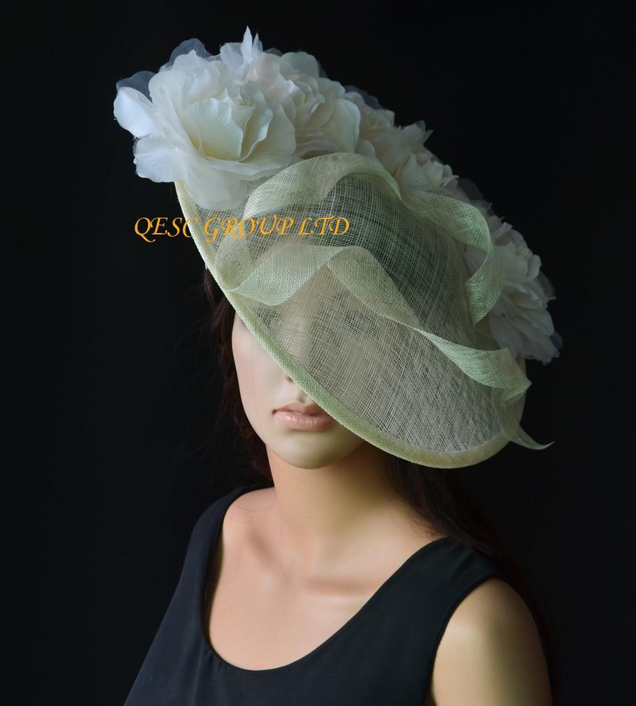 NEW Cream Ivory Big Sinamay Hat Saucer Fascinator Hat Silk