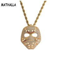 Fashion Top Quality Rock Hip Hop Jewelry Micro Paved AAA Cubic Zirconia Hollow Mask Pendant Men Brass Necklace Jewellery Unisex