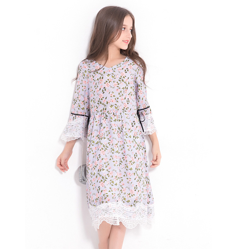 Teen Girls Floral Print Dress Mid Calf Length Long Flare Sleeve Dress with Lace Trim Big Teenage Girls Loose Fit Dresses