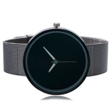 Simple Fashion Wrist Watch Men quartz-watch Women Unique Black Dial Quartz Mesh Stainless Steel Band Strap Ladies Unisex