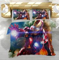 New Iron Man The Avengers Character Duvet Cover Set Au Us Eu Twin Full Queen King Size Bedclothes Kids Cartoon Bed Linen Bed Set