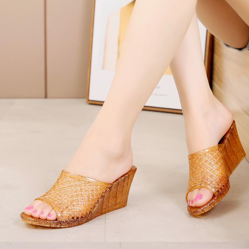 Sandals Size 6 7 8 9 Women/'s Clear Jelly Flip Flops Transparent Hard Sole