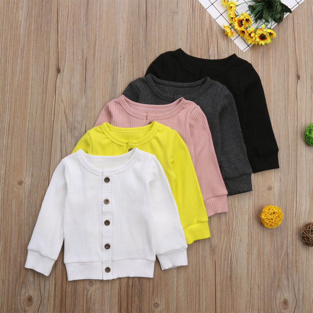 Coat Cardigan Button-Clothing Sweater Spring Knitted Newborn Infant Baby-Girl Long-Sleeves title=