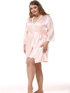 Image 2 - Longue Robe ensemble longue Satin Robe de chambre femmes vêtements de nuit 9685