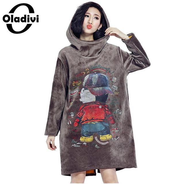 Oladivi 2018 Autumn Winter Women Long Hoodie Dress Plus Size Loose