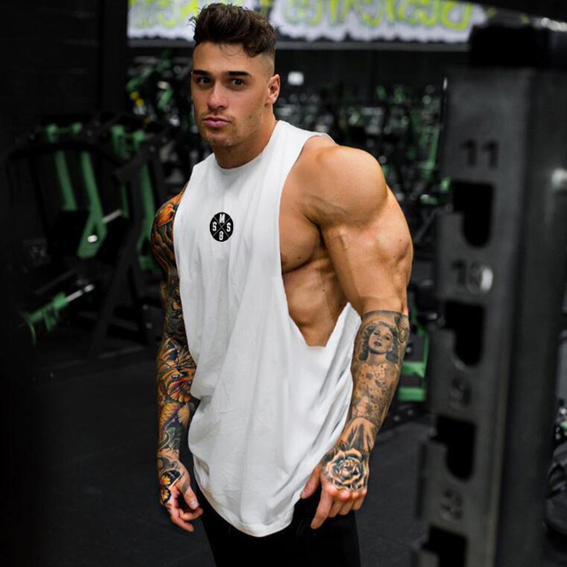 Men Fitness Fashion Muscle Training Singlet Gym Full Cut Workout Tank Top