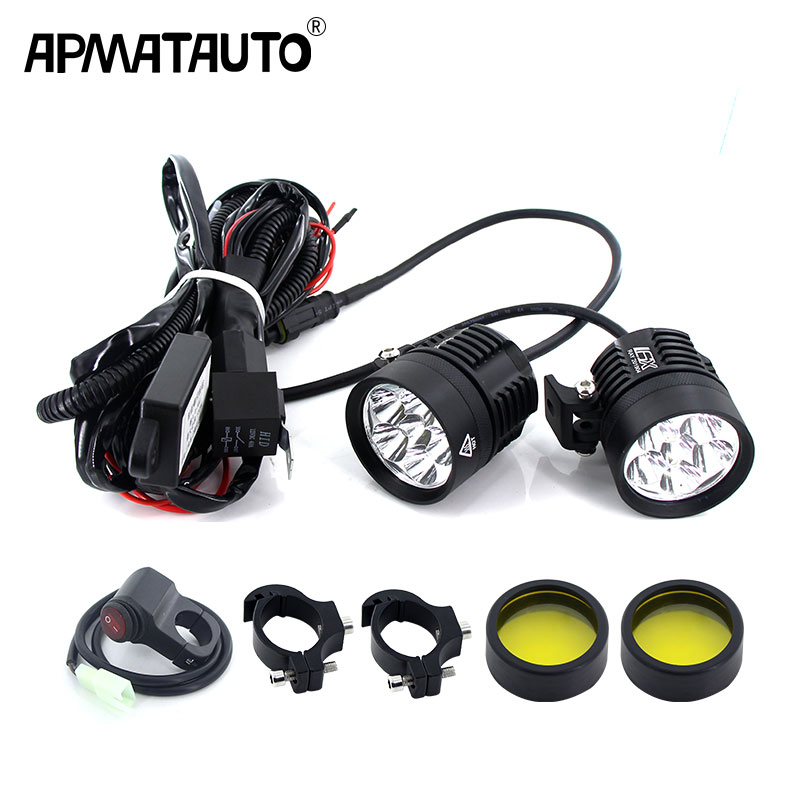 Plug&Play Headlight LED Motorcycle Motorbike 12000LM Moto Spotlight Waterproof Fog Spot Motos Bulb Super Bright+Flash Controller