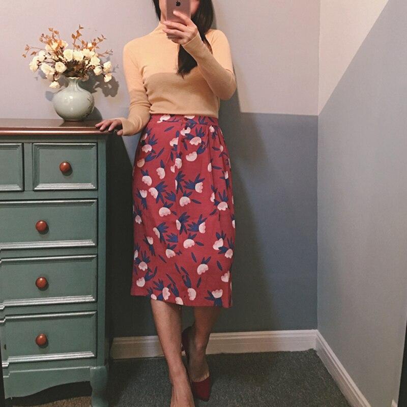 New A Line Mid Length Skirt Jupe Emiko Osaka Skirt In Printed Crepe Viscose High Waist