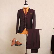 2016 Real Photo Mixed Wool Tuxedos With Single Button Luxury Slit Fit Bridegroom Tuxedos Men Suits Cummerbund (Suit+Pants+Vest)