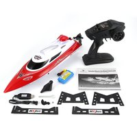 HONGXUNJIE RC Speedboat 2.4G 30km/h High Speed RC Racing Boat Water Cooling System Flipped Omni directional Voltage Promp Model