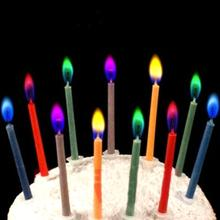 6Pcs Colored Birthday Cake Candles Safe Flames Wedding Party Dessert Decorations