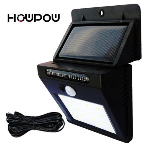 Lámpara de seguridad de la noche del Sensor de movimiento PIR de 20/30 LED de la luz de la pared del exterior Solar impermeable de las bombillas del jardín Solar