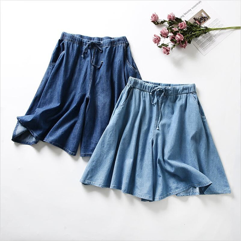2020 Women Summer Denim Shorts Skirt Casual Loose Solid Drawstring All-Match Shorts Skirts Vestido Plus Size Shorts Skirts M-7XL