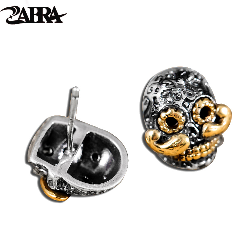ZABRA Luxury 925 Sterling Silver Skull Gold Color Beard Stud Earrings for Women Biker Men Steampunk Rock Cool Fashion Jewelry