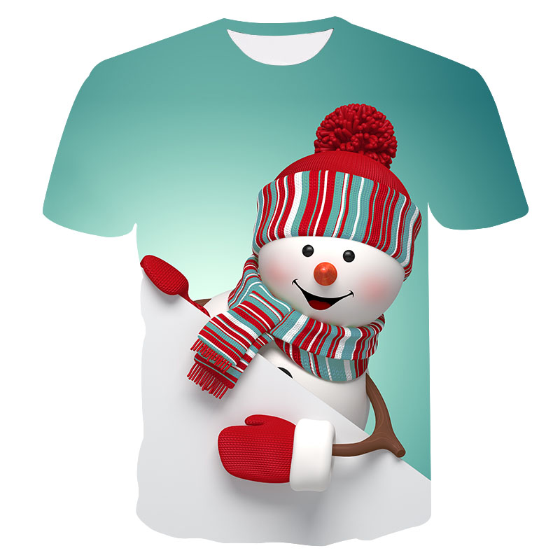 2019 new men's and women's casual T-shirt Summer 3D Print Cute Snowman Fashion Round Neck T-Shirt Trendy men's t-shirt S-4XL