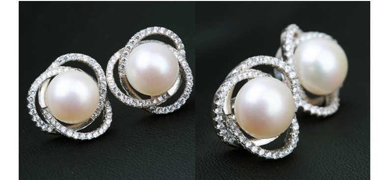 ZHBORUINI Mode Kalung Mutiara Perhiasan set Mutiara Air Tawar 925 Sterling Silver Zirkon Mutiara Anting Liontin Untuk Wanita Hadiah