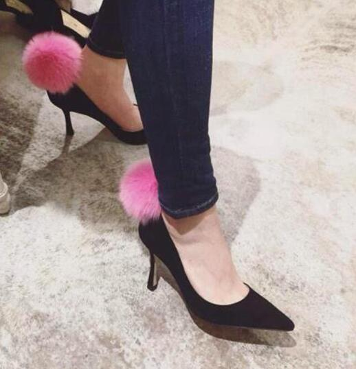 2017 spring newest celebrity high heel shoes pink fur pom pom pointed toe woman pumps sexy dress heels newest solid flock high heel pumps woman