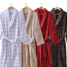 100% Cotton Mens Bathrobe Thick Warm Winter Night Dressing Gown Plus Size XXL Towel Fleece Bath Robe Lounge Homme Kimono Robe