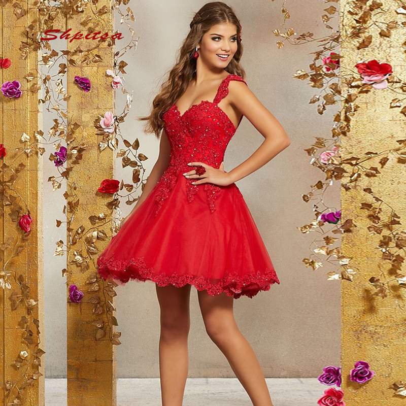 Red Short Lace Cocktail Dresses Party Homecoming Graduation Women Prom Plus Size Coctail Mini Semi Formal