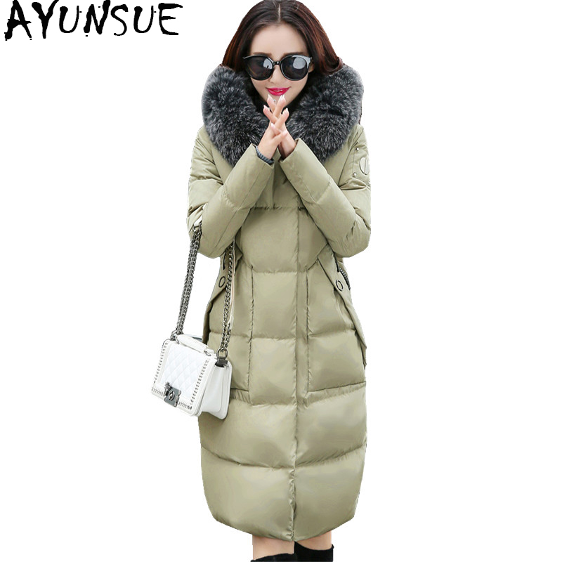 AYUNSUE Womens Down Jackets And Coats Elegant Medium-long Coat Female Jacket With Fur Hood Warm Winter Parka Outerwear WYQ816