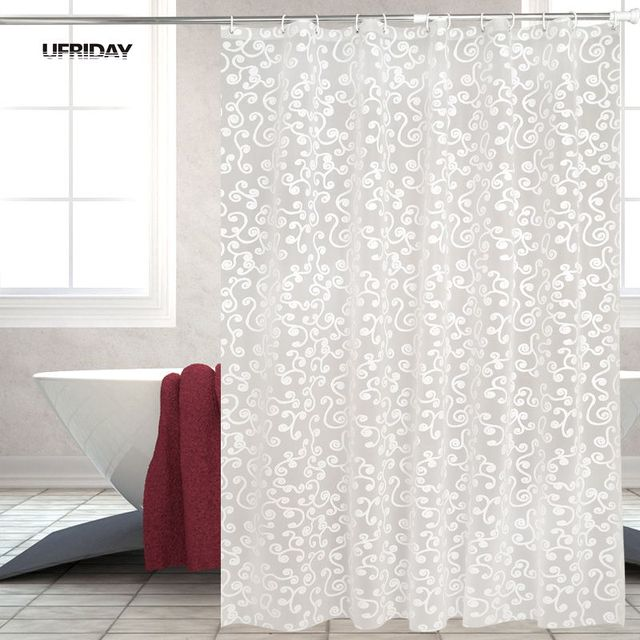 UFRIDAY Fashion White 3D Embossing Flower Shower Curtain PEVA Waterproof  Fabric Bathroom Curtain Thicken Bath Cortina