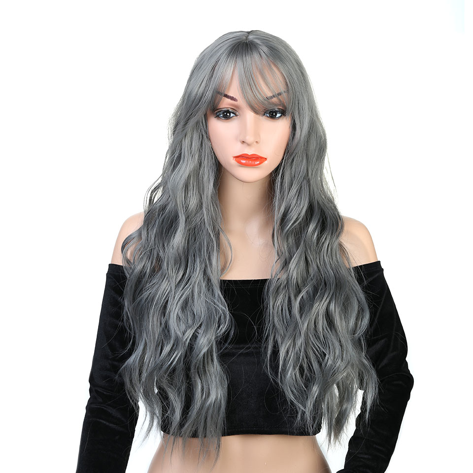 Pageup Wavy Hair Cosplay Long Wigs With Bangs For Women Ladies Heat Resistant Black Blue Blonde Pink Green Gray Synthetic Wig