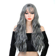 цена Pageup Wavy Hair Cosplay Long Wigs With Bangs For Women Ladies Heat Resistant Black Blue Blonde Pink Green Gray Synthetic Wig