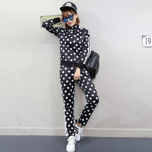 2016 New 2 Piece Set Women casual long sleeve jacket and slim long pant polka dot suit tracksuit mujer spring autumn suits women