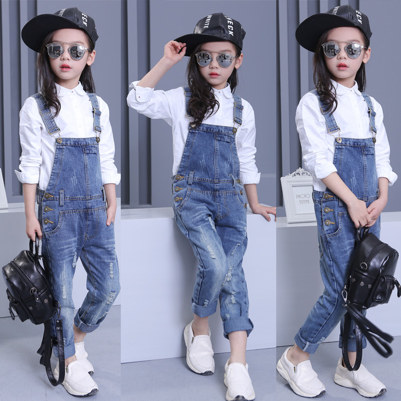 Kids Children Girls Clothes Denim Hole Jumpsuit Overalls Playsuit For Teen Girls Blue Jeans 4 5 6 7 8 9 10 12 13 14 Years Old 55 print overalls jeans for girls 3 4 5 6 7 8 9 10 11 years 2018 new fashion baby girl fall clothes print jumpsuit long denim pant
