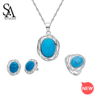 SA SILVERAGE 925 Sterling Silver Turquoise Round Necklace/Stud Earrings/Rings Jewelry Sets for Woman 925 Silver Sets Two Series