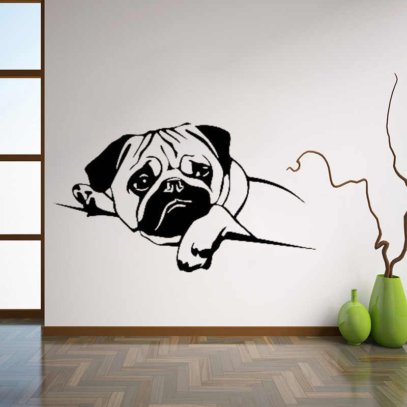 Beautiful Pug Wall Sticker Home Décor PVC Vinyl Removable Decal Poster
