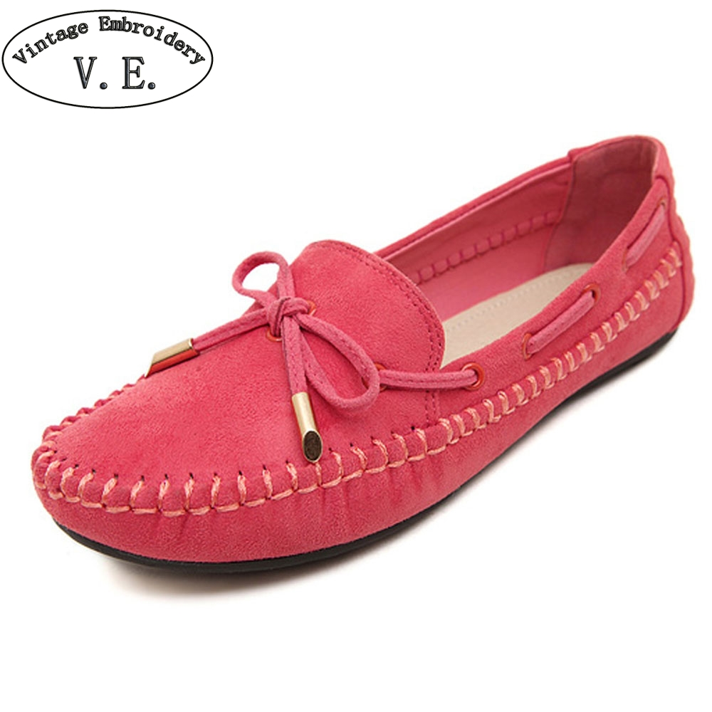 Female Footwear Loafers Flats Moccasins Shoes Woman Casual Summer Sweet Solid 44 Bowtie